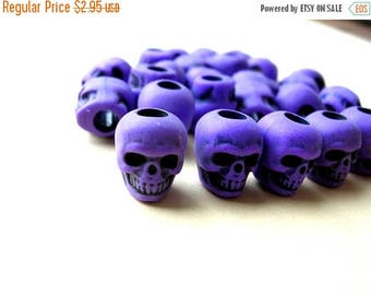 Purple Skull Beads - Gothic Skull - Day of the Dead Skull Lot - Wide Hole Beads - Macabre