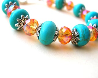 Small Turquoise Magnesite Bracelet - Gemstone Bracelet - Small Wrist