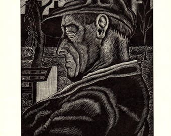 George Barford-In Central Park-1938 Woodblock