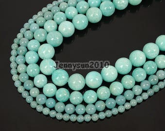Natural Brazil Amazonite Gemstone Round Spacer Beads 15'' 4mm 6mm 8mm 10mm 12mm for Jewelry Making Crafts