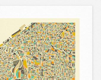 CLEVELAND MAP (Giclée Fine Art Print/Photographic Print/Poster Print) by Jazzberry Blue (ivory version)