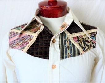 vintage 70's Impulse ivory white big collar western shirt applique black brown kilim floral velvet bib long sleeve small rockabilly cowboy