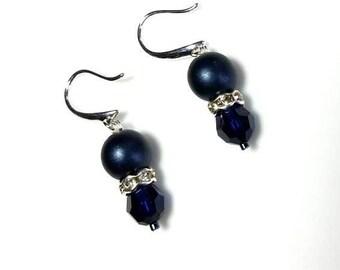 satin navy Czech glass druk bead dark blue Swarovski crystal earrings hypoallergenic earrings nickel free earrings dangle beaded jewelry