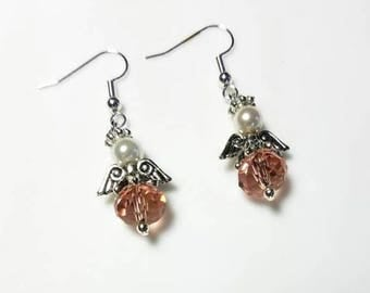 peach crystal guardian angel earrings with white Swarovski pearls hypoallergenic earrings nickel free earrings dangle drop beaded jewelry