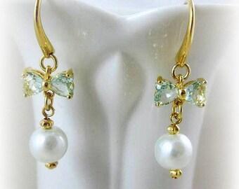 Green Ernite Crystal Butterfly Wing Earrings Hypoallergenic Earrings Nickel Free Earrings White Swarovski Crystal Pearl Jewelry