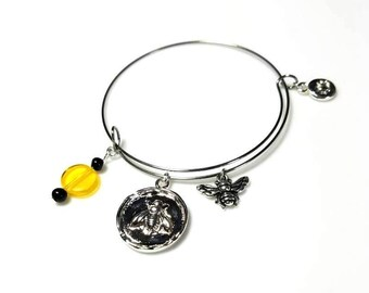 Expandable Silver Bangle Bracelet with Honey Bee Insect Charms Lotus Flower Charm Adjustable Bangle for Women Men Friendship Bracelet