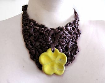 Crochet - handcrafted ceramic - eco-friendly and ethical satin necklace