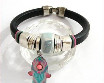 Bracelet Bohemian lucky charm - black leather / Blue ceramic charm Khemsa on measures