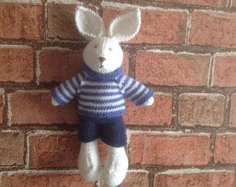 Hand knitted toy, knitted toy, handmade soft toy, baby gift, kids toy, rabbit toy, dressed bunny, present for kids, handmade bunny, plushie