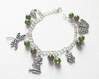 Bracelet Chaîne Gourmette - Métal argenté, breloques animaux, perles magiques, fermoir mousqueton  - Bijou créateur, pièce unique