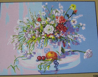 Flowers and Fruit Tapestry Needlepoint Canvas Collection D'Art