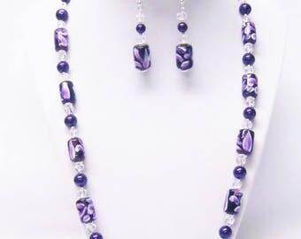 Purple/White/Lilac Swirl Cylinder Glass Bead Necklace/ Bracelet/Earrings