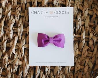 "Baby / Girls Felt Hair Bow Clip, Corduroy Baby Bow Hair Clip, Fall Halloween Baby Hair Bow ""Amethyst"" by charliecocos"