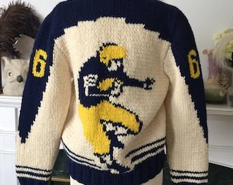 50s Football Cowichan Sweater Jacket