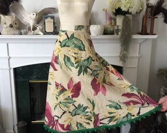 50s Tropical Floral Barkcloth Skirt