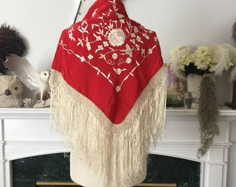 40s era Red Embroidered Gypsy Shawl