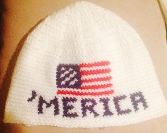 "Fourth of July beanie hat - ""Merica with American Flag"