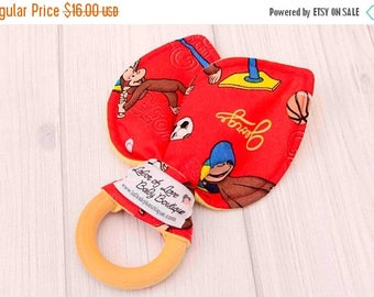 FLASH SALE - Teething Baby Boy - Early Learning Toy - Wood Toddler Toy - Baby Wood Teether - Monkeys Playing Sports - 1362