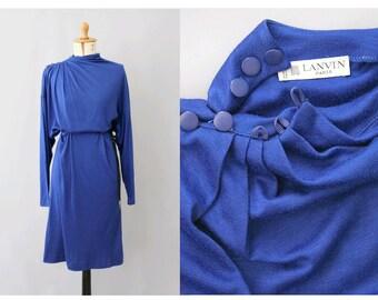 Lanvin Paris 1980s vibrant blue Dress /1980s paris dress Lanvin/80s magenta blue dress