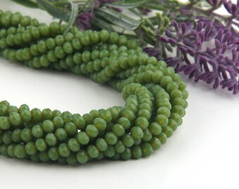 Apple Green, Faceted  Rondelle Chinese Crystal Beads, Crystal Rondelle Beads, 1 strand-135 pcs // BD-066