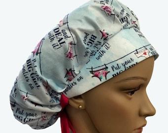 Bouffant Surgical Scrub Hat-Put Your Big Girl Panties on & Deal With It! Fun Girl Design On Blue Bouffant scrub hat-Custom Scrub-Doctor gift