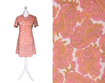 1960's Dress | 60's Vintage Dress | Summer Dress | Tangerine Orange And Pink Dress