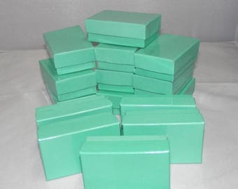 On Sale 20 Teal Jewelry Boxes, Cotton filled presentation gift boxes,Display Boxes Retail Boxes 2.5x1.5
