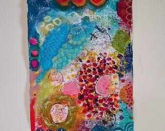 Original abstract,mixedmedia paintingpainting on heavyweight 300g paprer, colorful, contemporary art, spring, flower, modern painting