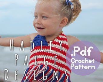 """5 sizes - """"July"""" bikini top, crochet pattern for baby - 0-18 months - by Hadley Paige Designs. Boho kids.  Summer wear."""