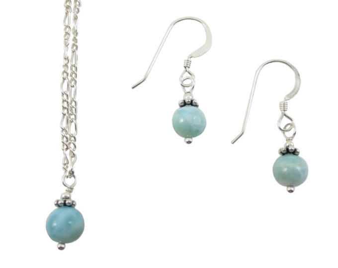 Larimar - Pendant & Earrings - Sterling Silver - 14k Gold Fill - Bead Jewelry - Beaded Jewelry