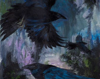 PATH of THREE RAVENS Giclee Archival Ink Premium Luster Paper Print to Frame for your Home or Gifting pat gullett