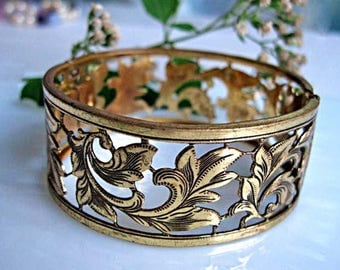 Czech Hinged Bracelet, Etched Leaves Openwork Cuff Bangle, Scrolled Tapestry Flowing Pattern, Signed Czechoslovakia
