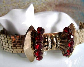 Retro Bracelet Red Rhinestones, Sceptron by Reinad, Bow Tie Design, Flat Golden Weave Flexy Band, 12k Gold Fill, Ruby Glass Round Accents