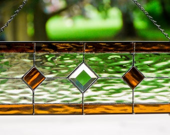 Stained Glass Panel- Clear with Amber Accents and center Bevel