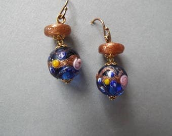 blue Murano glass lampwork gold foil wedding cake beaded dangle earrings