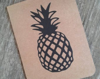 Set of 5 Handcrafted Pineapple Kraft Note Cards