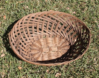 French antique basket French open weave basket French three strand hand woven basket French fruit basket French bread basket French tabletop