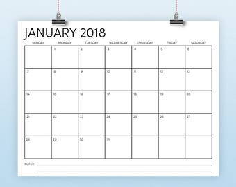 "8.5"" x 11"" 2018 Calendar Template 