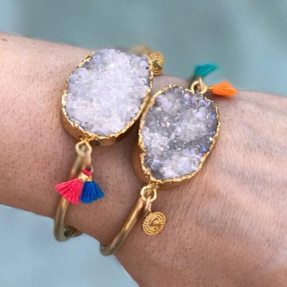 Druzy Tassel Cuff Bracelets, Druzy Jewelry, Tassel jewelry, tassel bracelets, boho jewelry, personalized initial jewelry, Quartz jewelry