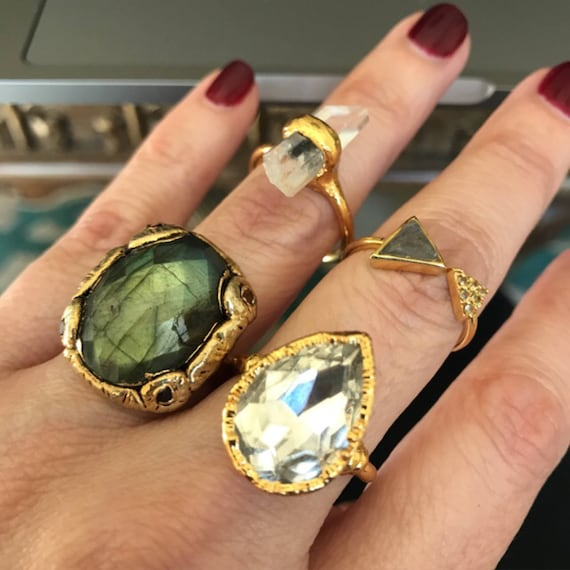 Statement rings, labradorite ring, Quartz Ring, boho jewelry