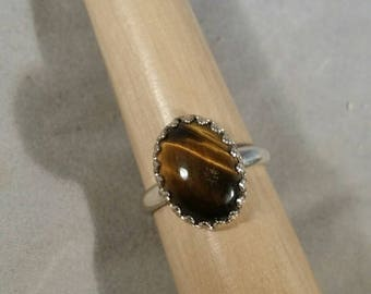 Shiny Tiger's Eye in Sterling Silver Ring - Size 7
