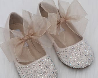 GIRLS SHOES- CHAMPAGNE Satin With Rhinestone ballet flats with white chiffon ankle strap.  For weddings, princess, fairy, flower girls, froz