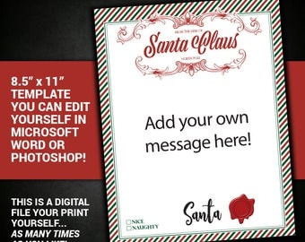 Letter from Santa, editable, Santa Letter, Santa Claus, Letter, Printable, Christmas, DIY, antique, printable, personalized letter, template