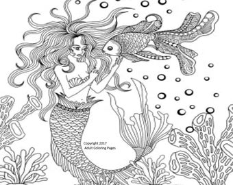Aquatic Coloring Page Figure 1.  Printable Coloring Page, Instant Download, Adult Coloring Page.
