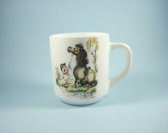 Vintage Arcopal Cartoon Horse Mug - Milk Glass Cup - Retro Kitchen France 1970s
