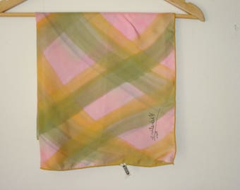 Vintage Pink Silk Scarf - Square Soft Check Micheline Scarves - Womens Fall Autumn Accessories 1980s