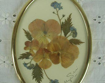Vintage Miniature Pressed Flower Picture, Oval Gold Tone Frame, Pansies and Forget-Me-Nots, Johnny-Jump-Ups, Botanical Picture