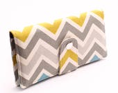 Women's Long Wallet, Wallet Organizer, Clutch Wallet, Women's Credit Card Wallet, Smart Phone Wallet - blue, citrine, gray chevron stripes