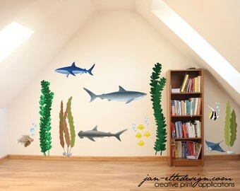 Kids Ocean Wall Decals,Sharks and Seaweed Wall Stickers,Under the Sea Fabric Wall Decals,Classroom decor