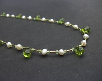 Faceted Natural Gemstone Peridot Briolettes and White Pearl 14kt Yellow Gold Filled Necklace, Pearl Necklace, Peridot Faceted Necklace